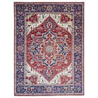 FineRugCollection Hand Made Serapi Red Wool Oriental Rug
