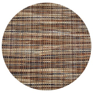 Rizzy Home Bennington Brown Striped Round Area Rug - 7'10 x 7'10