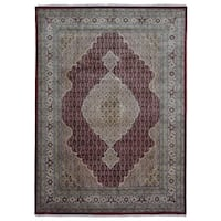 FineRugCollection Hand Made Fine Mahi Tabriz Olive Wool and Silk Oriental Rug