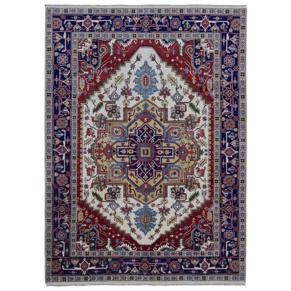 FineRugCollection Hand Made Serapi Navy Wool Oriental Rug