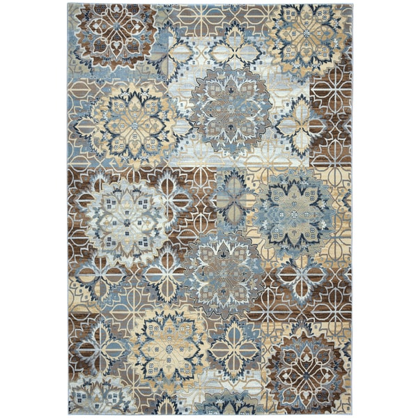 Shop Rizzy Home Bennington Blue And Yellow Ornamental Round Area Rug