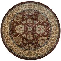 "Bellevue Khaki-colored Polypropylene Border Round Area Rug - 7'10"" x 7'10"""