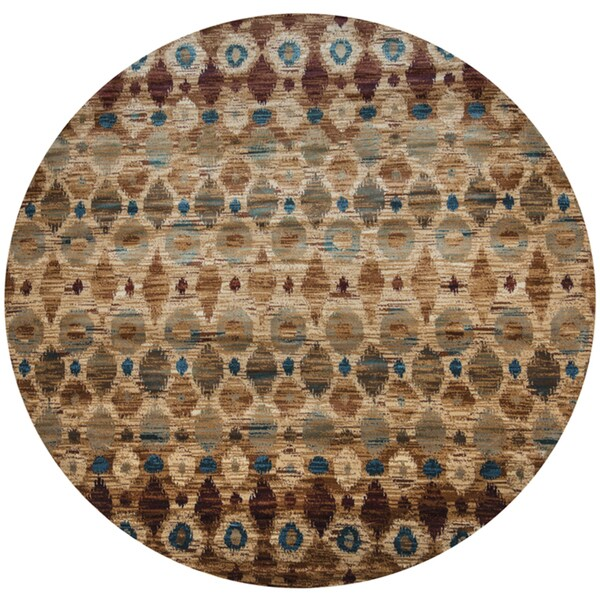 Shop Rizzy Home Bellevue Brown Hand Tufted Round Ikat Area