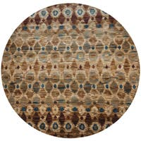 "Rizzy Home Bellevue Brown Hand-tufted Round Ikat Area Rug - 7'10"" x 7'10"""
