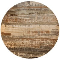 "Rizzy Home Bellevue Collection Tan Graphic Round Area Rug - 7'10"" x 7'10"""