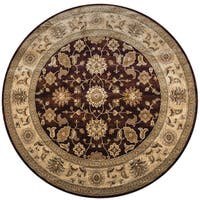 "Rizzy Home Bellevue Burgundy Border Round Area Rug - 7'10"" x 7'10"""