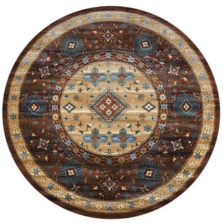 Bellevue Tan/Brown Polypropylene Southwest Tribal Round Area Rug (7'10 Round)