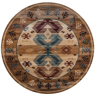 Rizzy Home Bellevue Brown Southwest Round Area Rug (7'10 Round)