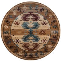 "Rizzy Home Bellevue Brown Southwest Round Area Rug - 7'10"" x 7'10"""