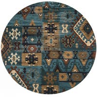 "Rizzy Home Bellevue Blue Southwest/Tribal Round Area Rug (7'10 Round) - 7'10"" x 7'10"""