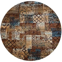 """Rizzy Home Bellevue Multicolor Patchwork Round Area Rug - 7'10"""" x 7'10"""""""