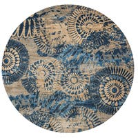 """Rizzy Home Bellevue Collection Blue/Tan Medallion Round Area Rug (7'10 x 7'10) - 7'10"""" x 7'10"""""""