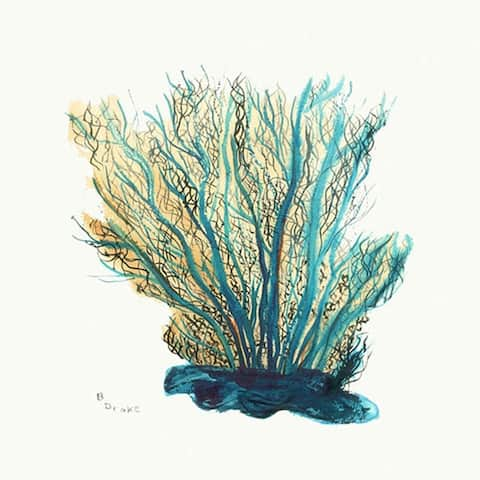 Betsey Drake Blue Coral Rubberdized Coasters (Set of 4)