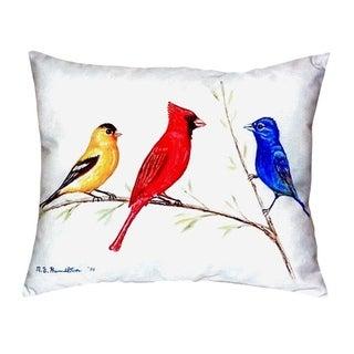 Three Birds No Cord Throw Pillow