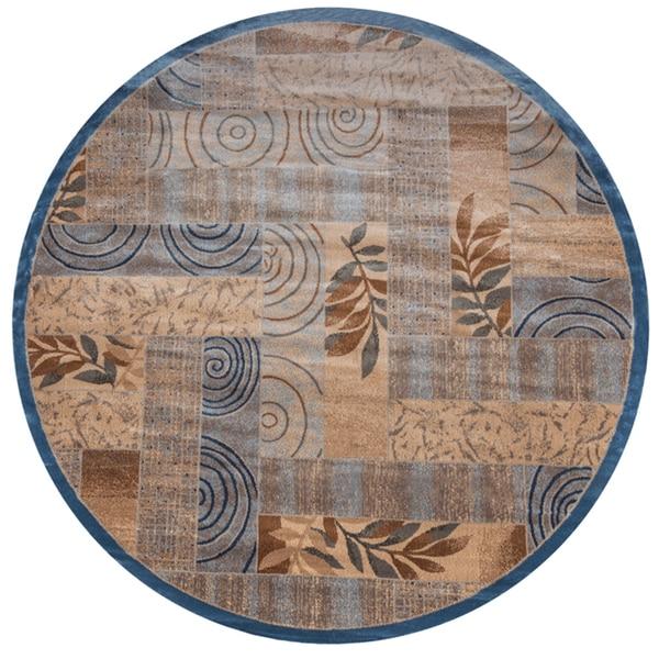 Bellevue blue  abstract Round Area Rug (7'10 Round)