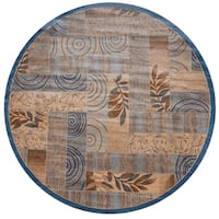 """Bellevue blue abstract Round Area Rug - 7'10"""" x 7'10"""""""