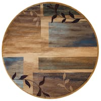 "Rizzy Home Bellevue Collection Tan Abstract Round Area Rug - 7'10"" x 7'10"""