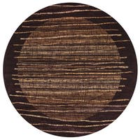 "Rizzy Home Bellevue Black Abstract Round Area Rug - 7'10"" x 7'10"""