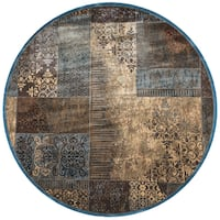 "Rizzy Home Bellevue Tan and Khaki Patchwork Round Area Rug - 7'10"" x 7'10"""