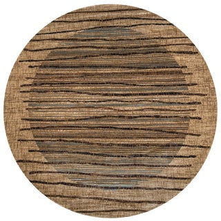 """Rizzy Home Bellevue Beige Round Abstract Area Rug (7'10 x 7'10) - 7'10"""" x 7'10"""""""