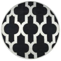Rizzy Home Hand-tufted Volare Black Wool Trellis Round Area Rug - 8' x 8'