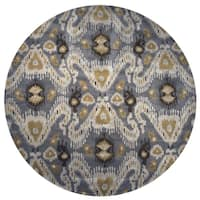 Volare Ikat Gray Wool Hand-Tufted Round Area Rug (8' Round) - 8' x 8'