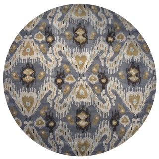 Volare Ikat Gray Wool Hand-Tufted Round Area Rug - 8' x 8'