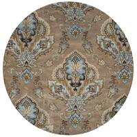 Hand-Tufted Volare brown Wool ornamental Round Area Rug - 8' x 8'