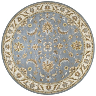 Volare Blue Wool Hand-tufted Round Area Rug (8' Round)