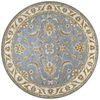 Volare Blue Wool Hand-tufted Round Area Rug - 8' x 8'