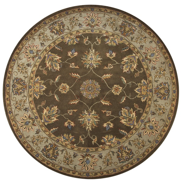 Hand Tufted Agra Red Gold Wool Rug 8 Round: Shop Rizzy Home Hand-tufted Volare Brown Wool Border Round