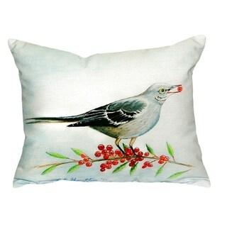 Mockingbird and Berries No Cord Throw Pillow