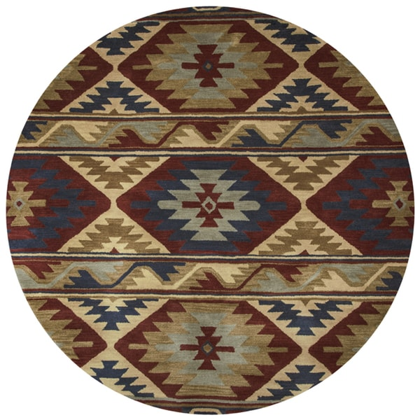 Rizzy Home Southwest Multicolored Wool Southwest/Tribal Round Area Rug  (8u0026#x27;
