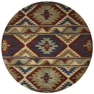 Rizzy Home Southwest Multicolored Wool Southwest/Tribal Round Area Rug (8' Round)