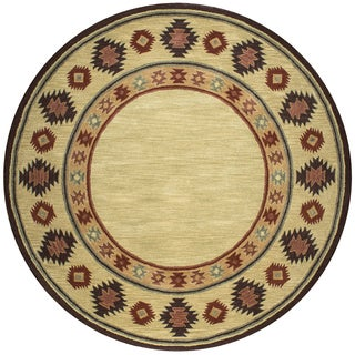 Rizzy Home Southwest Collection Tribal Tan Wool Hand-tufted Round Area Rug (8' x 8')