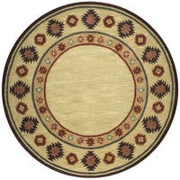 Rizzy Home Southwest Collection Tribal Tan Wool Hand-tufted Round Area Rug - 8' x 8'