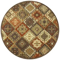 Rizzy Home Southwest Multicolor Wool Hand-tufted Round Tribal Area Rug - 8' x 8'