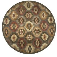 Rizzy Home Southwest Multicolor Wool Hand-tufted Round Tribal Area Rug (8'x8') - 8' x 8'