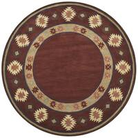 Rizzy Home Hand-tufted Burgundy Wool Southwest/Tribal Round Area Rug - 8' x 8'
