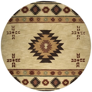 Rizzy Home Hand-tufted Khaki Wool Southwest Round Area Rug (8' Round)