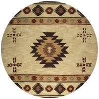 Rizzy Home Hand-tufted Khaki Wool Southwest Round Area Rug (8' Round) - 8' x 8'
