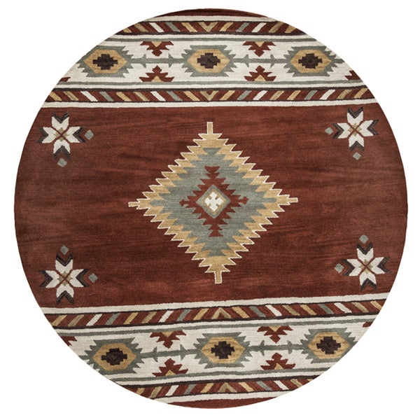 Rizzy Home Hand-tufted Southwestern Rust Wool Round Area Rug (8' Round) - 8' x 8'