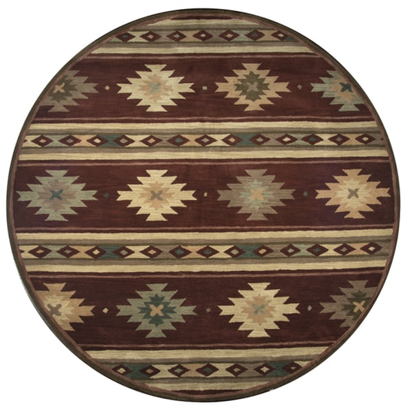 Rizzy Home Hand-tufted Burgundy Wool Southwest and Tribal Round Area Rug (8') - 8' x 8'