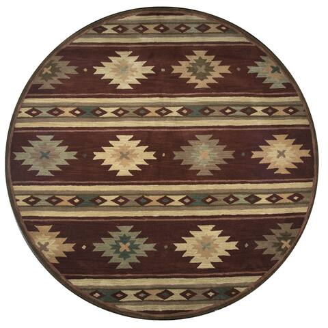 Ryder Hand-tufted Burgundy Wool Ryder and Tribal Round Area Rug (8') - 8' x 8'