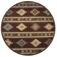 Rizzy Home Hand-tufted Burgundy Wool Southwest and Tribal Round Area Rug - 8' x 8'