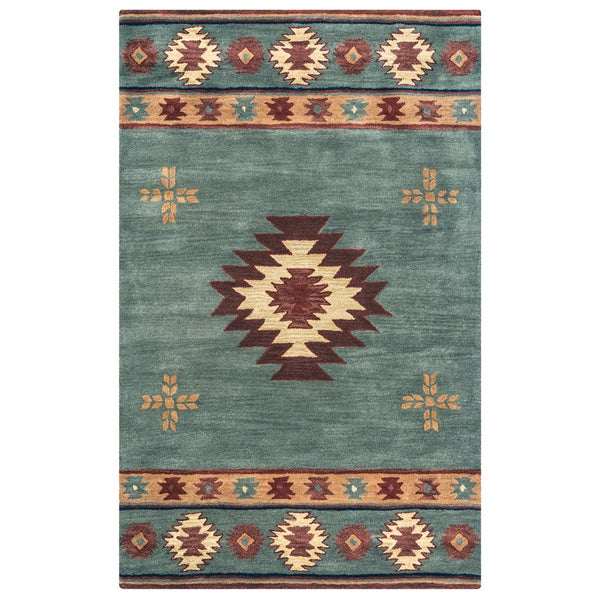 Rizzy Home Hand-tufted Grey/Blue Wool Southwest/Tribal Round Area Rug - 8' x 8'