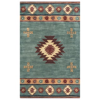 Rizzy Home Hand-tufted Grey/Blue Wool Southwest/Tribal Round Area Rug (8' x 8' Round) - 8' x 8'