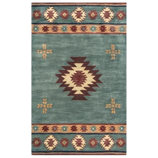 Rizzy Home Hand Tufted Grey Blue Wool Southwest Tribal Round Area Rug