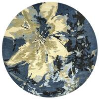 Rizzy Home Highland Navy/Blue Floral Hand-tufted Wool Area Rug - 8' x 8'