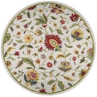 Rizzy Home Dimensions Khaki Floral Wool Round Area Rug (8' Round)